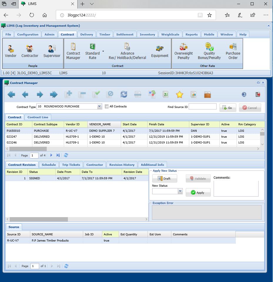 screen shot of lims web portal